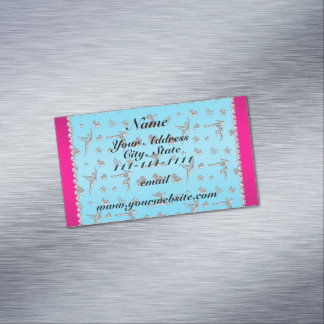 Personalized name silver sky blue gymnastics magnetic business cards (Pack of 25)