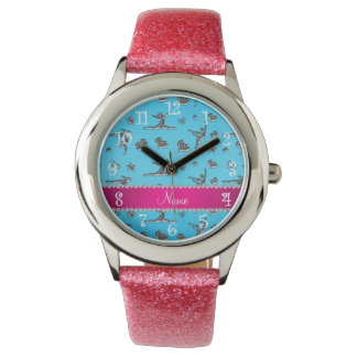 Personalized name silver sky blue gymnastics watches