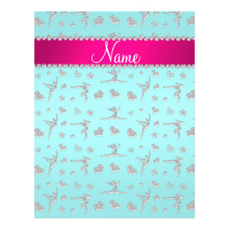 Personalized name silver turquoise gymnastics personalized flyer