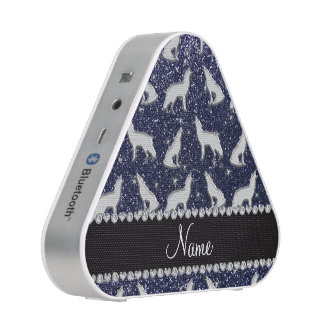Personalized name silver wolf navy blue glitter bluetooth speaker