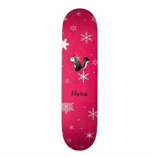 Personalized name skunk pink snowflakes skate decks