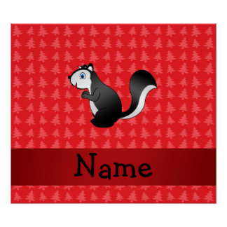Personalized name skunk red christmas trees print