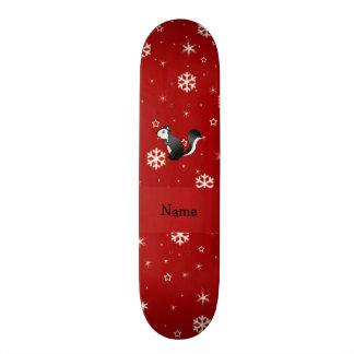 Personalized name skunk red snowflakes skate board decks