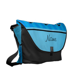 Personalized name skunk sky blue stripes commuter bags