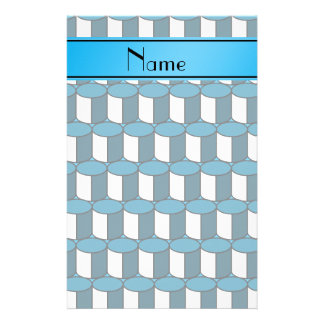 Personalized name sky blue 3d circles stationery