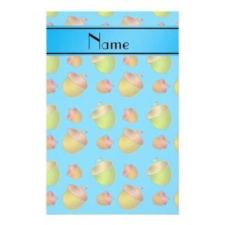 Personalized name sky blue acorns stationery