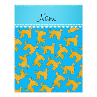 Personalized name sky blue afghan hound dogs 21.5 cm x 28 cm flyer