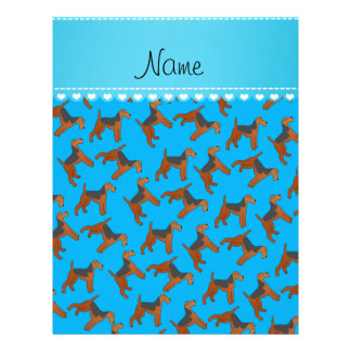 Personalized name sky blue airedale terriers dogs 21.5 cm x 28 cm flyer