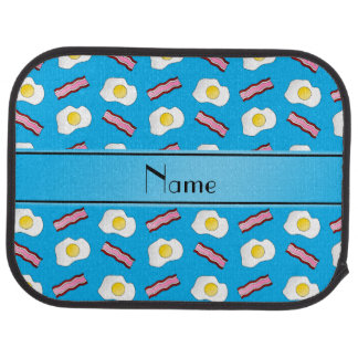 Personalized name sky blue bacon eggs car mat