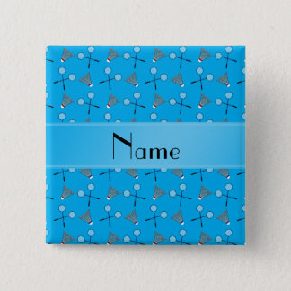 Personalized name sky blue badminton pattern 15 cm square badge