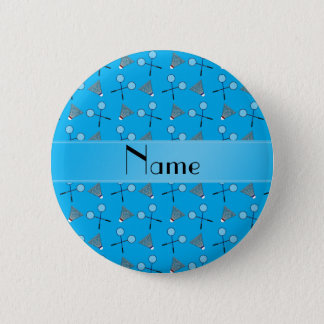 Personalized name sky blue badminton pattern 6 cm round badge