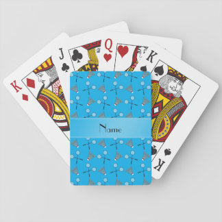 Personalized name sky blue badminton pattern poker cards