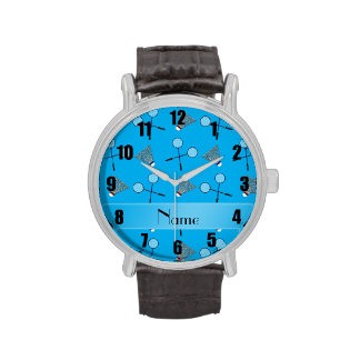 Personalized name sky blue badminton pattern watch