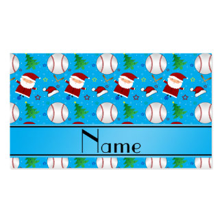 Personalized name sky blue baseball christmas business card template