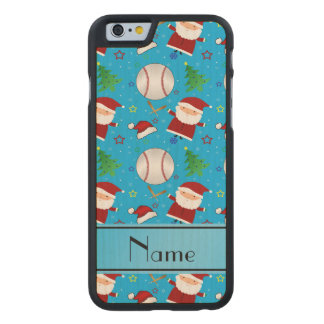 Personalized name sky blue baseball christmas carved® maple iPhone 6 case