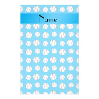 Personalized name sky blue baseballs pattern stationery