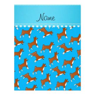 Personalized name sky blue basenji dogs 21.5 cm x 28 cm flyer