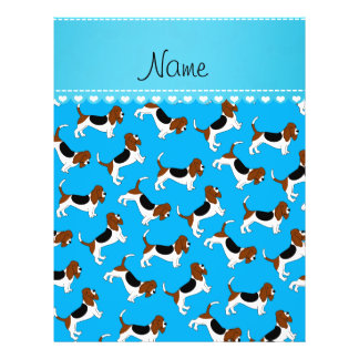 Personalized name sky blue basset hound dogs 21.5 cm x 28 cm flyer