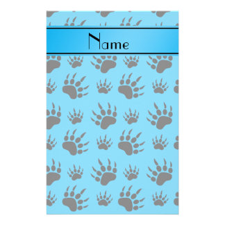 Personalized name sky blue bear paw prints personalized stationery