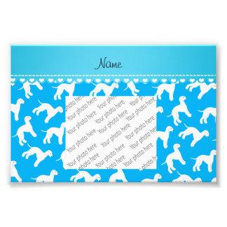 Personalized name sky blue bedlington terrier dogs photo art