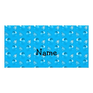 Personalized name sky blue birthday pattern photo cards