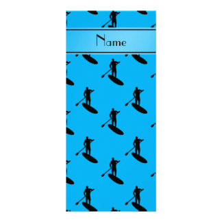Personalized name sky blue black paddleboarding rack card design