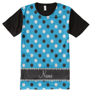 Personalized name sky blue black white polka dots All-Over print T-Shirt