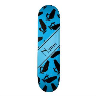 Personalized name sky blue black windsurfing skate board decks