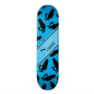 Personalized name sky blue black windsurfing skate board decks