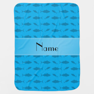 Personalized name sky blue bluefin tuna pattern baby blanket