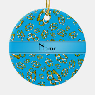 Personalized name sky blue brass knuckles christmas ornament