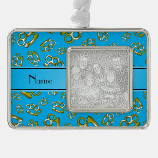 Personalized name sky blue brass knuckles silver plated framed ornament