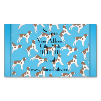 Personalized name sky blue brittany spaniel dogs magnetic business cards