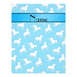 Personalized name sky blue bull terrier dogs 21.5 cm x 28 cm flyer