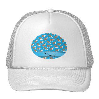Personalized name sky blue Bulldog Cap