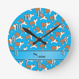 Personalized name sky blue Bulldog Round Clock