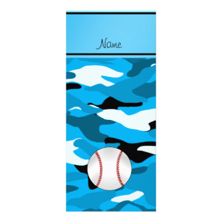Personalized name sky blue camo baseball custom rack card