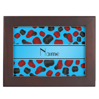 Personalized name sky blue checkers game keepsake boxes