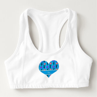 Personalized name sky blue cheerleading flowers sports bra