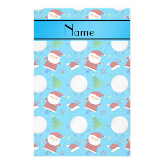Personalized name sky blue christmas golfing stationery paper