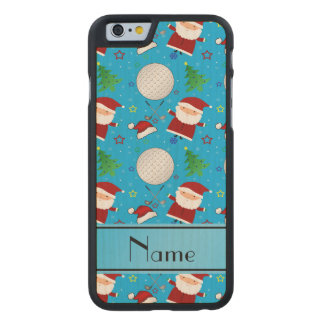 Personalized name sky blue christmas golfing carved® maple iPhone 6 slim case