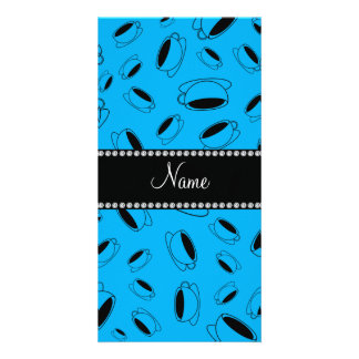 Personalized name sky blue coffee cup customized photo card