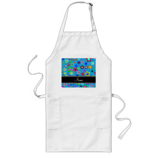Personalized name sky blue colorful retro flowers aprons