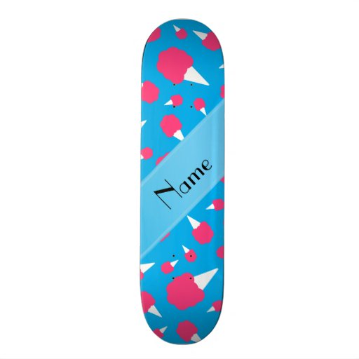 Personalized name sky blue cotton candy skate boards