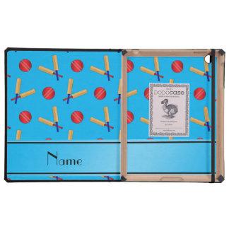 Personalized name sky blue cricket pattern iPad folio case