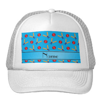 Personalized name sky blue cricket pattern trucker hat