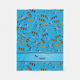Personalized name sky blue croquet pattern fleece blanket