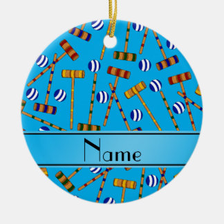 Personalized name sky blue croquet pattern round ceramic decoration