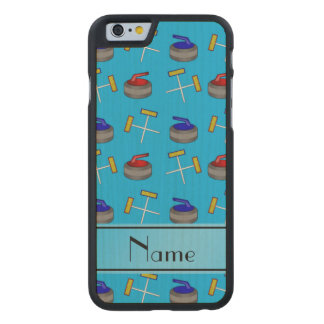 Personalized name sky blue curling pattern carved® maple iPhone 6 case