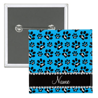 Personalized name sky blue dachshunds dog paws 15 cm square badge